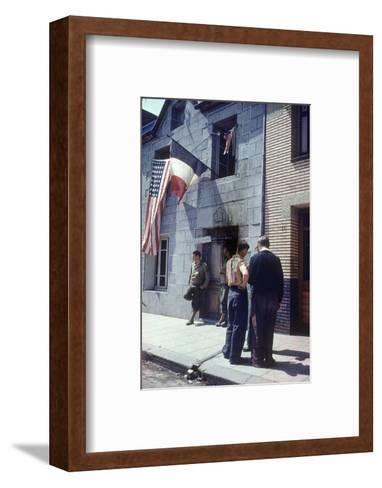 Civil Affairs Building in La Haye Du Puit Decorated with American and French Flags, France, 1944-Frank Scherschel-Framed Art Print