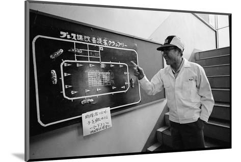 Founder of Honda, Soichura Honda Pointing to Car Race Model, Tokyo, Japan, 1967-Takeyoshi Tanuma-Mounted Photographic Print