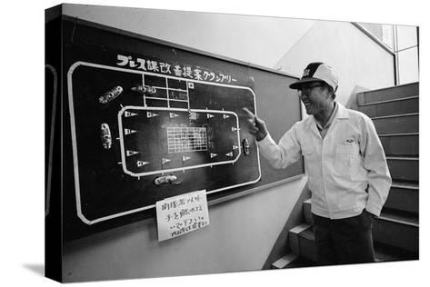 Founder of Honda, Soichura Honda Pointing to Car Race Model, Tokyo, Japan, 1967-Takeyoshi Tanuma-Stretched Canvas Print