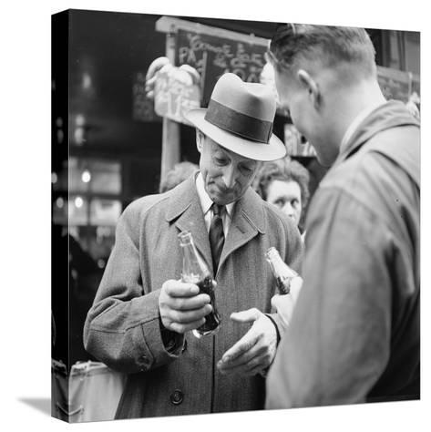 Parisians Drinking Bottled Coca Cola, Paris, France, 1950-Mark Kauffman-Stretched Canvas Print