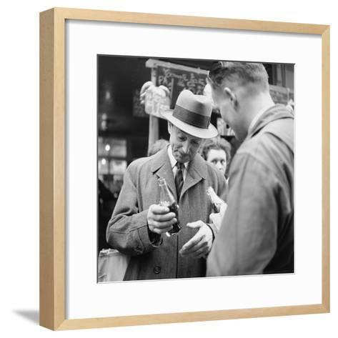 Parisians Drinking Bottled Coca Cola, Paris, France, 1950-Mark Kauffman-Framed Art Print