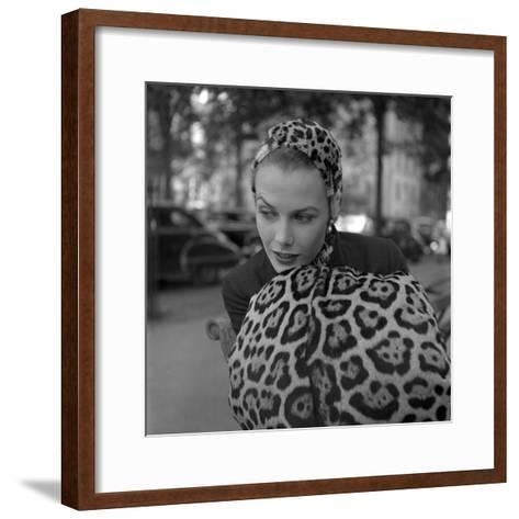 1949: Woman in Fur Fashion in New York City-Gordon Parks-Framed Art Print