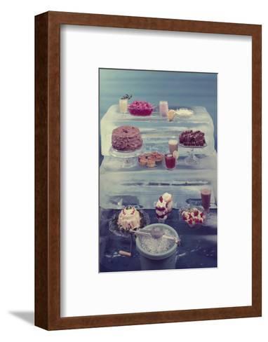 View of a Variety of Desserts Arranged on Blocks of Ice, 1960-Eliot Elisofon-Framed Art Print