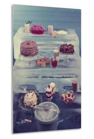 View of a Variety of Desserts Arranged on Blocks of Ice, 1960-Eliot Elisofon-Metal Print