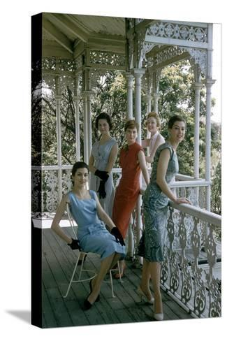 Australian Models Pose on a Porch, Melbourne, Australia, 1956-John Dominis-Stretched Canvas Print