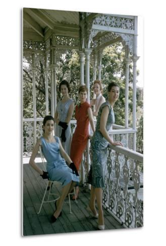 Australian Models Pose on a Porch, Melbourne, Australia, 1956-John Dominis-Metal Print