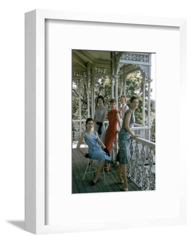 Australian Models Pose on a Porch, Melbourne, Australia, 1956-John Dominis-Framed Art Print