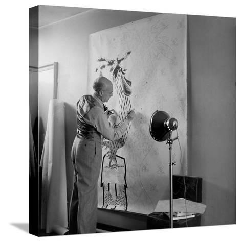 Artist Jean Lurcat Creating Tapestry. Paris, France June 1946-Ralph Morse-Stretched Canvas Print