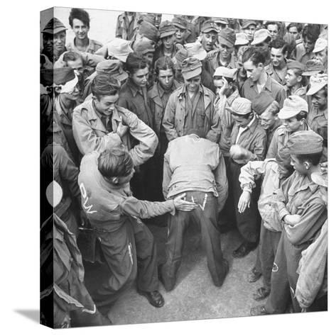 1945: Continental Central Pow Enclosure 15, Attichy, France-Ralph Morse-Stretched Canvas Print