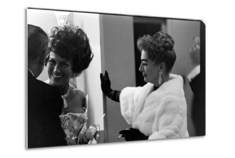 Guests Smoking and Talking at the Met Fashion Ball, New York, New York, November 1960-Walter Sanders-Metal Print