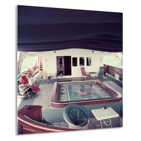 Swimming Pool and Mosaic on the Ship 'Christina O' Owned by Shipping Magnate Aristotle Onassis-Dmitri Kessel-Metal Print
