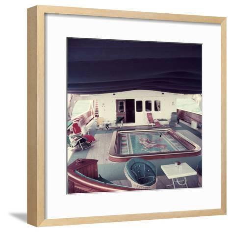 Swimming Pool and Mosaic on the Ship 'Christina O' Owned by Shipping Magnate Aristotle Onassis-Dmitri Kessel-Framed Art Print