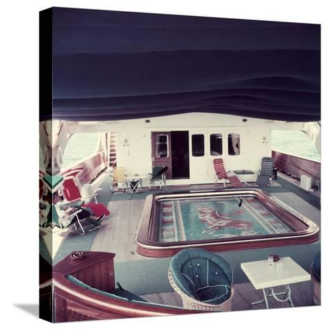 Swimming Pool and Mosaic on the Ship 'Christina O' Owned by Shipping Magnate Aristotle Onassis-Dmitri Kessel-Stretched Canvas Print