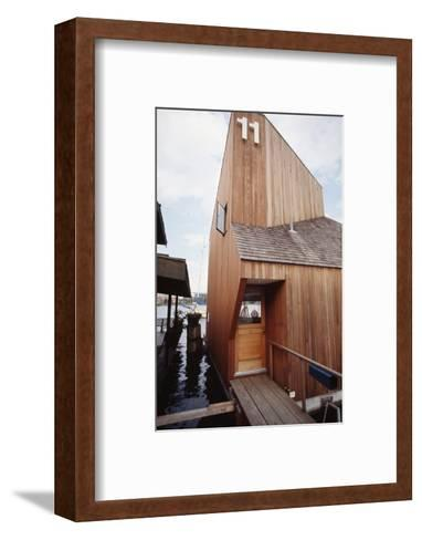 View of the Front Door and Facade of a Wooden Floating Home in Portage Bay, Seattle, Wa, 1971-Michael Rougier-Framed Art Print