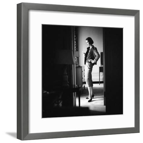 Woman Model Wearing Latest Spring Fashion. Tweed Suit with Pearl Necklace, New York, 1957-Gordon Parks-Framed Art Print