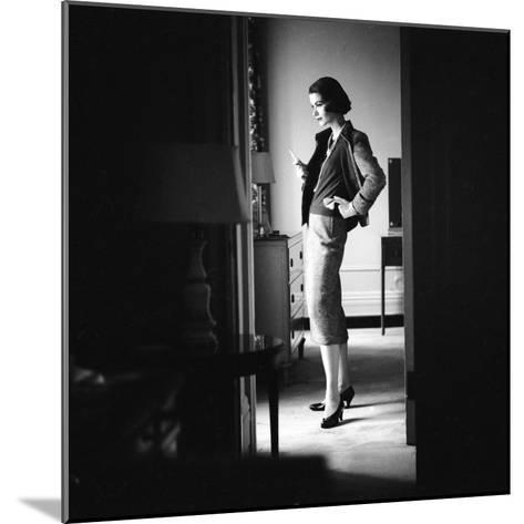 Woman Model Wearing Latest Spring Fashion. Tweed Suit with Pearl Necklace, New York, 1957-Gordon Parks-Mounted Photographic Print
