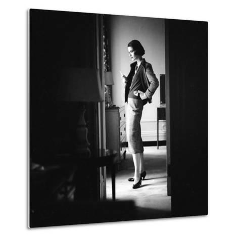 Woman Model Wearing Latest Spring Fashion. Tweed Suit with Pearl Necklace, New York, 1957-Gordon Parks-Metal Print