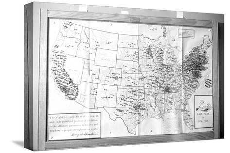"""Us Map """"Fair Play in Politics"""" Displaying Areas with Political Religious Bias, 1960-Walter Sanders-Stretched Canvas Print"""