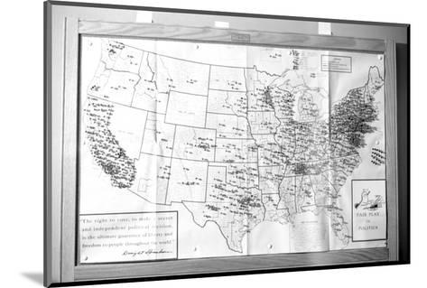 """Us Map """"Fair Play in Politics"""" Displaying Areas with Political Religious Bias, 1960-Walter Sanders-Mounted Photographic Print"""