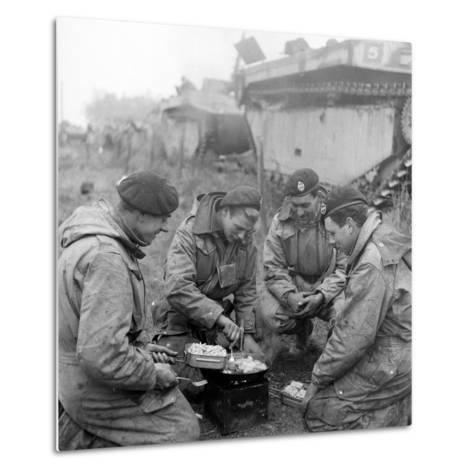 Members of the British 49th Armoured Personnel Carrier Regiment Cooking on the Side of a Road-George Silk-Metal Print