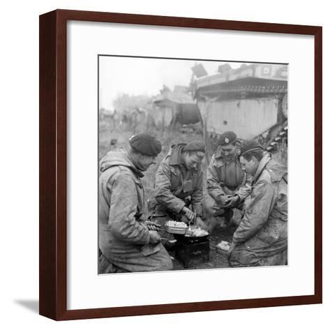 Members of the British 49th Armoured Personnel Carrier Regiment Cooking on the Side of a Road-George Silk-Framed Art Print