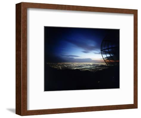 Twilight Shot of Los Angeles Seen from Top of Mount Wilson Ktla Tv Helicopter Dish, CA, 1959-Ralph Crane-Framed Art Print