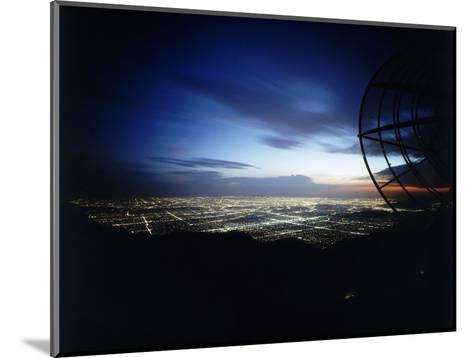 Twilight Shot of Los Angeles Seen from Top of Mount Wilson Ktla Tv Helicopter Dish, CA, 1959-Ralph Crane-Mounted Photographic Print