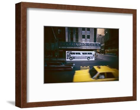 Poster of a Greyhound Bus in Front of Radio City Music Hall, New York, New York, Summer 1967-Yale Joel-Framed Art Print