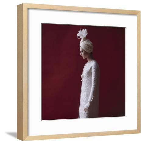 Model Dressed in a White Turban, Gloves, and Brocade Coat by Yves St Laurent, Paris, France, 1962-Paul Schutzer-Framed Art Print