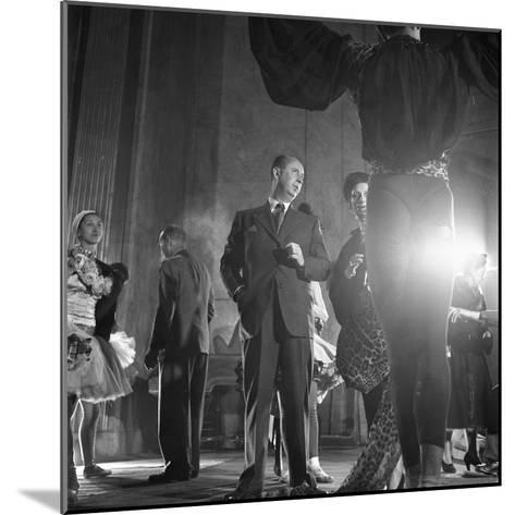 French Designer Christian Dior Adjusting a Leopard-Print Fabric on a Dancer, Paris, November 1947-Frank Scherschel-Mounted Photographic Print