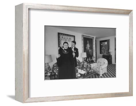Heiress and Designer Gloria Vanderbilt at Home with Husband Wyatt Cooper, New York, 1974-Alfred Eisenstaedt-Framed Art Print