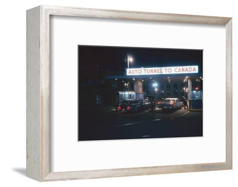 Nighttime View of the Cars at the Entrance to the Detroit-Windsor Tunnel, Detroit, Michigan, 1959-Fritz Goro-Framed Art Print