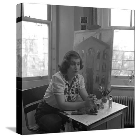 American Artist Honore Desmond Sharrer (1970 - 2009) in Her Studio, February 1950-W^ Eugene Smith-Stretched Canvas Print