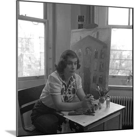 American Artist Honore Desmond Sharrer (1970 - 2009) in Her Studio, February 1950-W^ Eugene Smith-Mounted Photographic Print