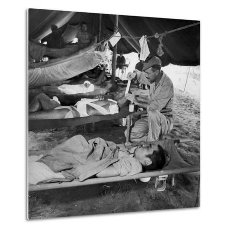 Lew Ayres Treating Wounded Japanese Prisoner in Leyte Cathederal Turned into Hospital, 1944-W^ Eugene Smith-Metal Print
