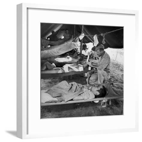Lew Ayres Treating Wounded Japanese Prisoner in Leyte Cathederal Turned into Hospital, 1944-W^ Eugene Smith-Framed Art Print