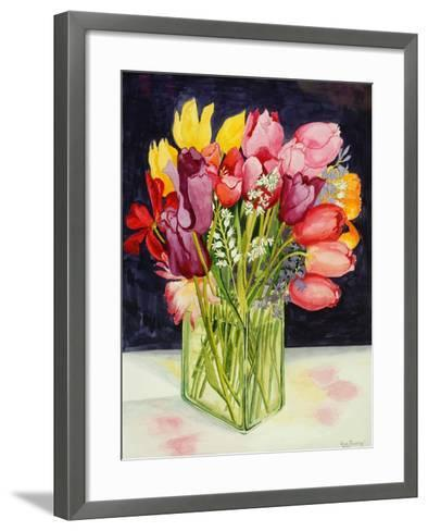 Tulips and Bluebells in a Rectangular Glass Tub, 2001-Joan Thewsey-Framed Art Print