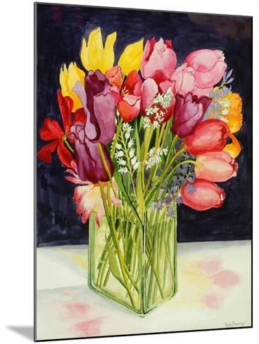 Tulips and Bluebells in a Rectangular Glass Tub, 2001-Joan Thewsey-Mounted Giclee Print