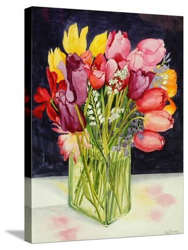 Tulips and Bluebells in a Rectangular Glass Tub, 2001-Joan Thewsey-Stretched Canvas Print