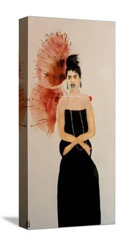 Maori Woman in Black Dress (Seated), 2016-Susan Adams-Stretched Canvas Print
