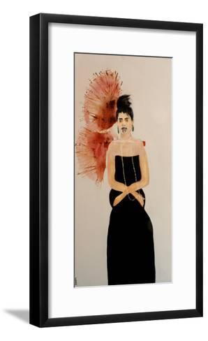Maori Woman in Black Dress (Seated), 2016-Susan Adams-Framed Art Print