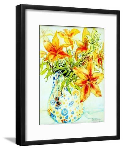 Orange Lilies in a Japanese Vase, 2000-Joan Thewsey-Framed Art Print