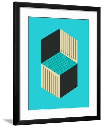 Cubes 1-Jazzberry Blue-Framed Art Print