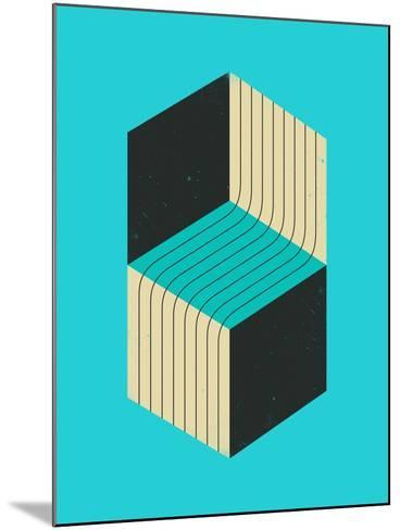 Cubes 1-Jazzberry Blue-Mounted Art Print