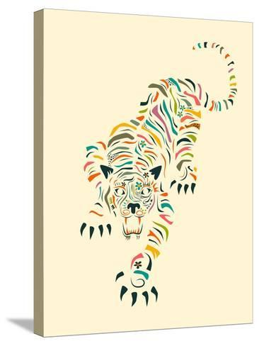 Tiger-Jazzberry Blue-Stretched Canvas Print