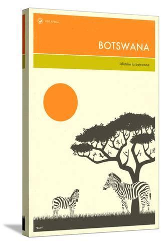 Visit Botswana-Jazzberry Blue-Stretched Canvas Print