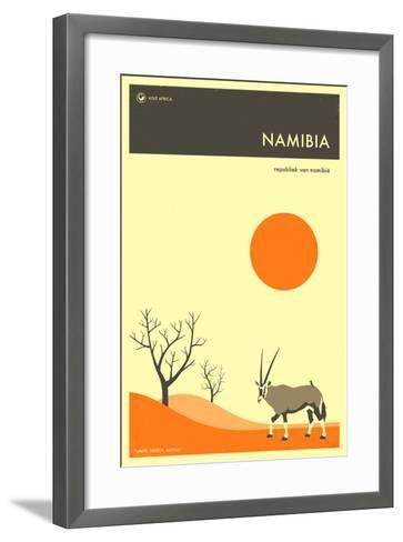 Visit Namibia-Jazzberry Blue-Framed Art Print