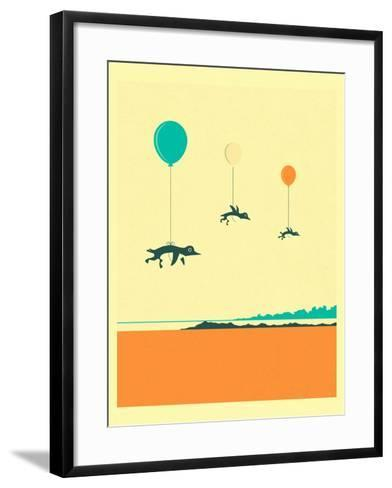 Flock of Penguins-Jazzberry Blue-Framed Art Print