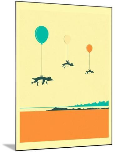 Flock of Penguins-Jazzberry Blue-Mounted Art Print