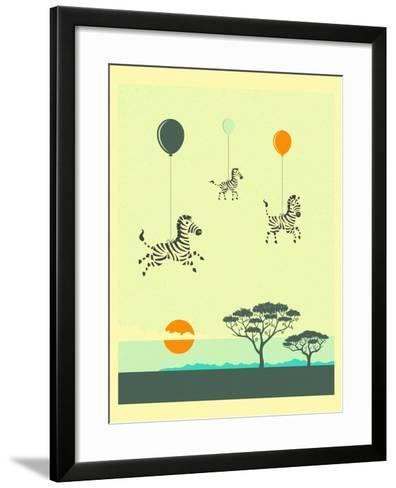 Flock of Zebras-Jazzberry Blue-Framed Art Print